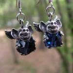 FLYING PIG EARRINGS SAPPHIRE SWAROVSKI CRYSTALS