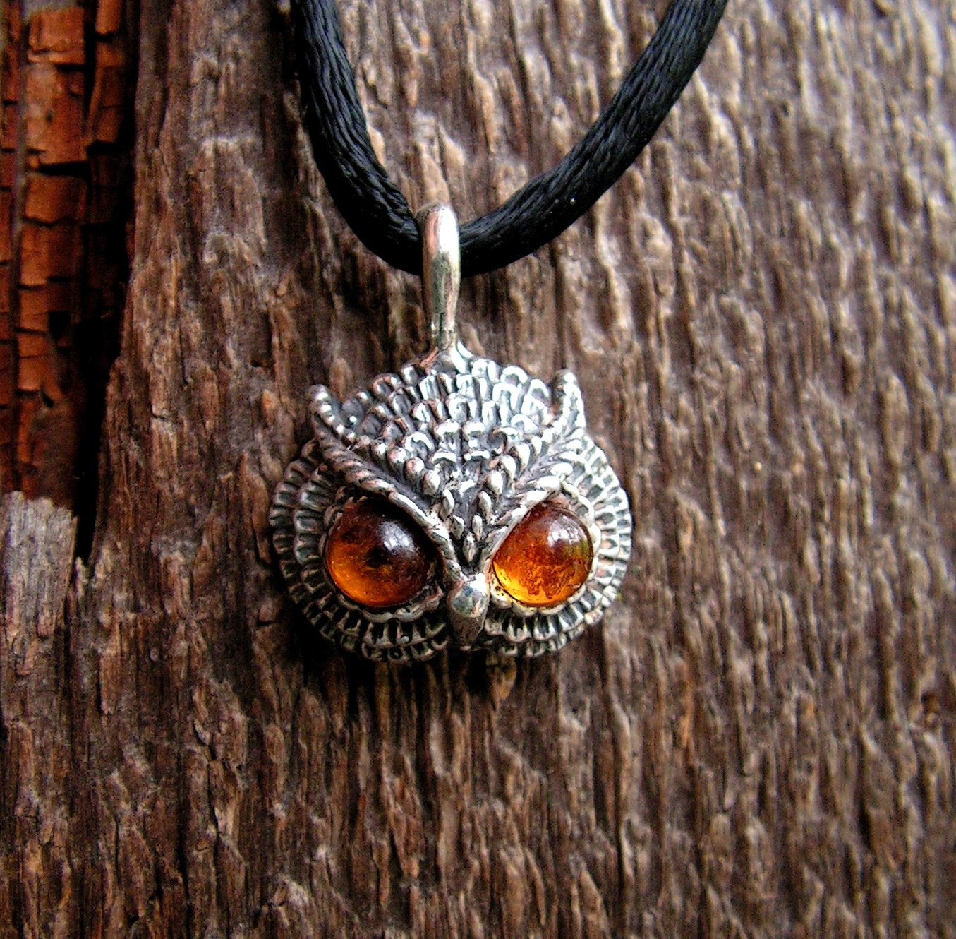 Sterling silver owl pendant with amber eyes western mountain owl pendant with amber eyes mozeypictures Image collections