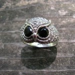 OWL RING  WITH BLACK ONYX EYES
