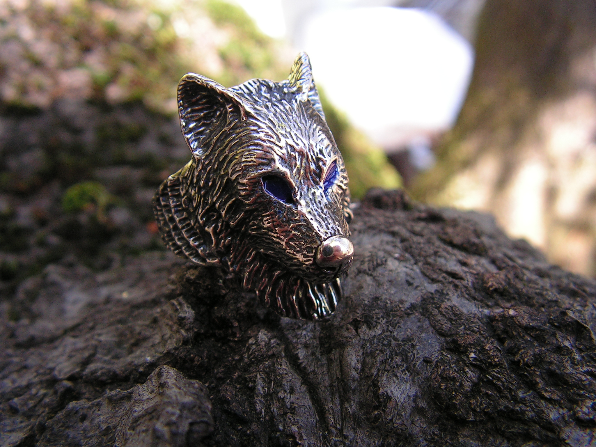 Sterling Silver Timber Wolf Ring With Blue Eyes Western