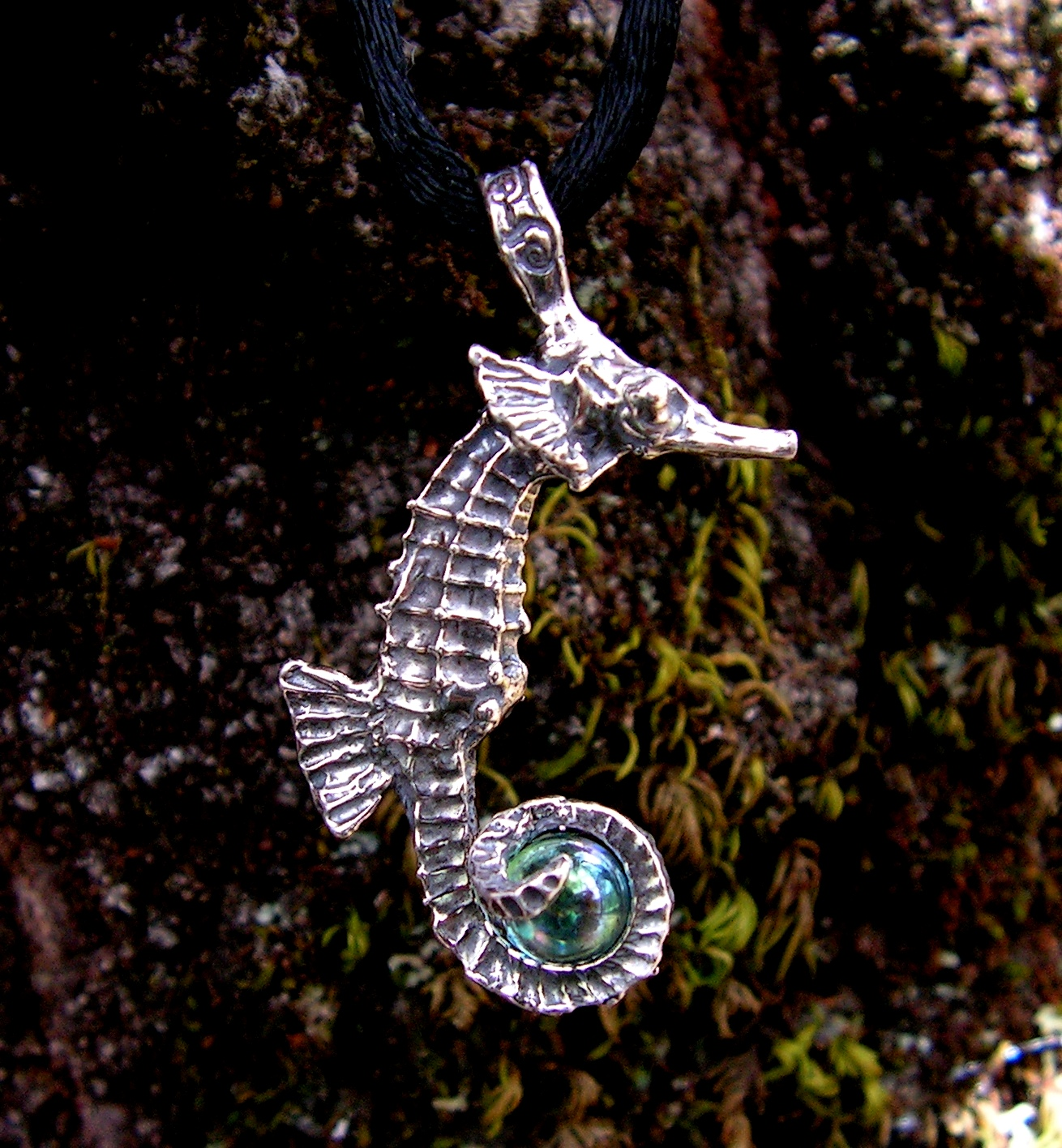 Sterling silver seahorse pendant with aqua aura western mountain seahorse pendant with aqua aura mozeypictures Images