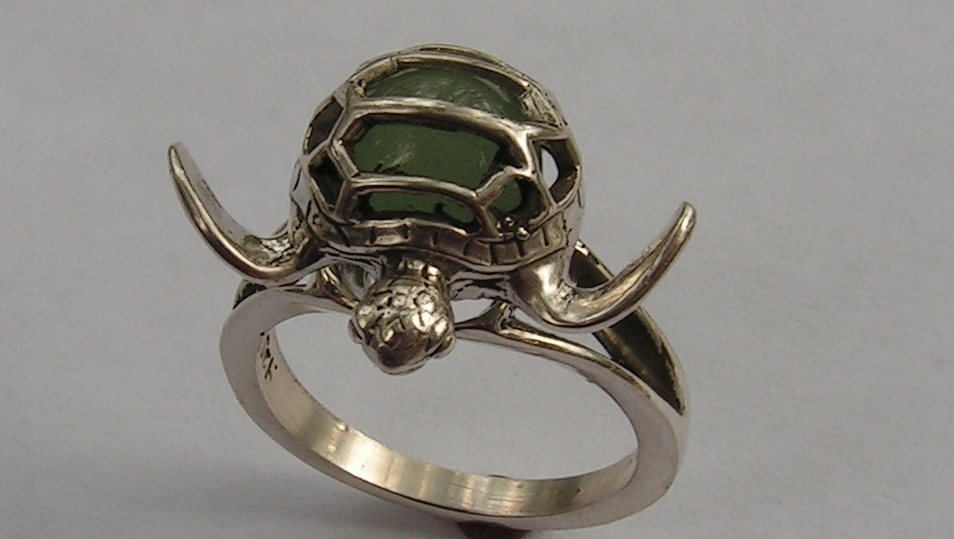 sterling silver sea turtle ring with aventurine western