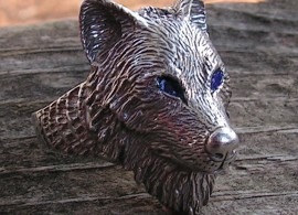 WOLF RING  WITH BLUE EYES