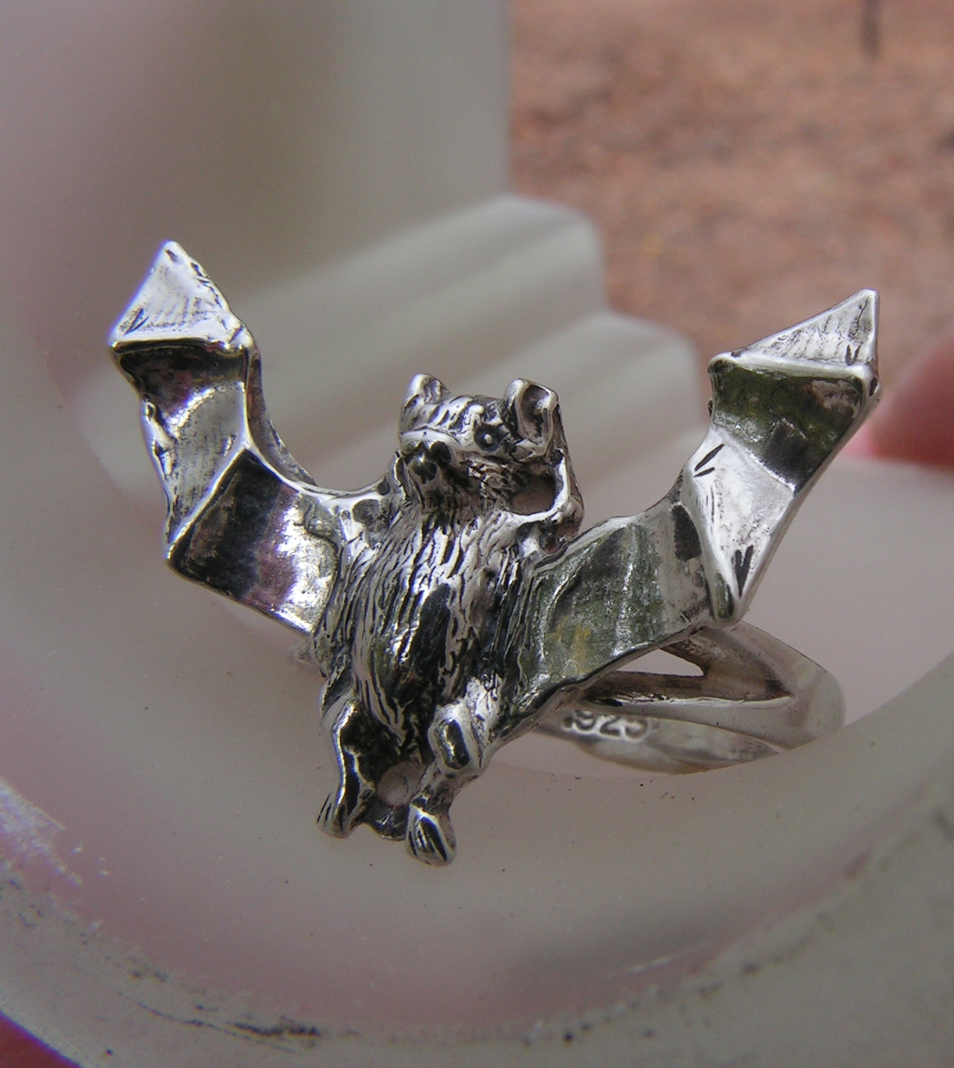 sterling silver bat ring western mountain jewelry design. Black Bedroom Furniture Sets. Home Design Ideas