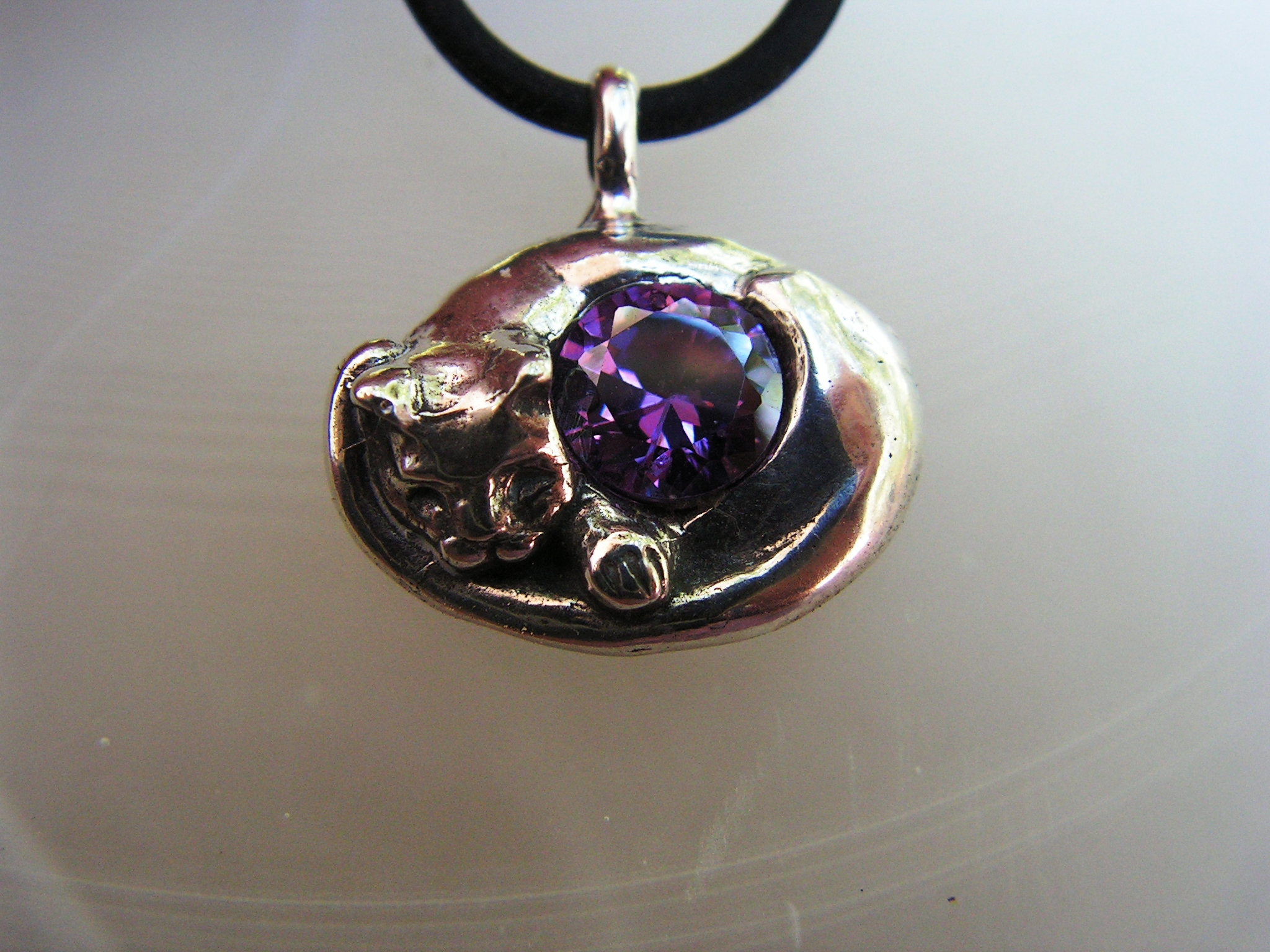 Sterling silver cat pendant with amethyst western mountain jewelry sterling silver cat pendant with amethyst 3000 konica minolta digital camera mozeypictures Image collections