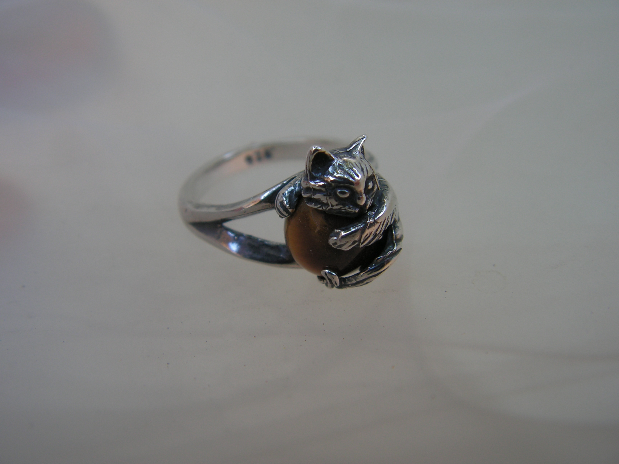 sterling silver cat ring with tiger eye western mountain