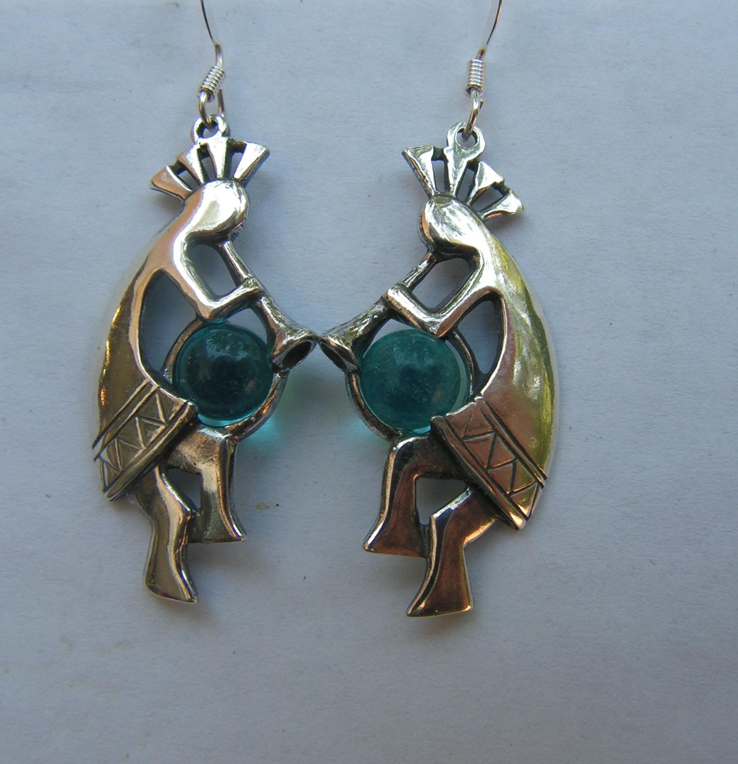 sterling silver kokopelli earrings with aquamarine. Black Bedroom Furniture Sets. Home Design Ideas