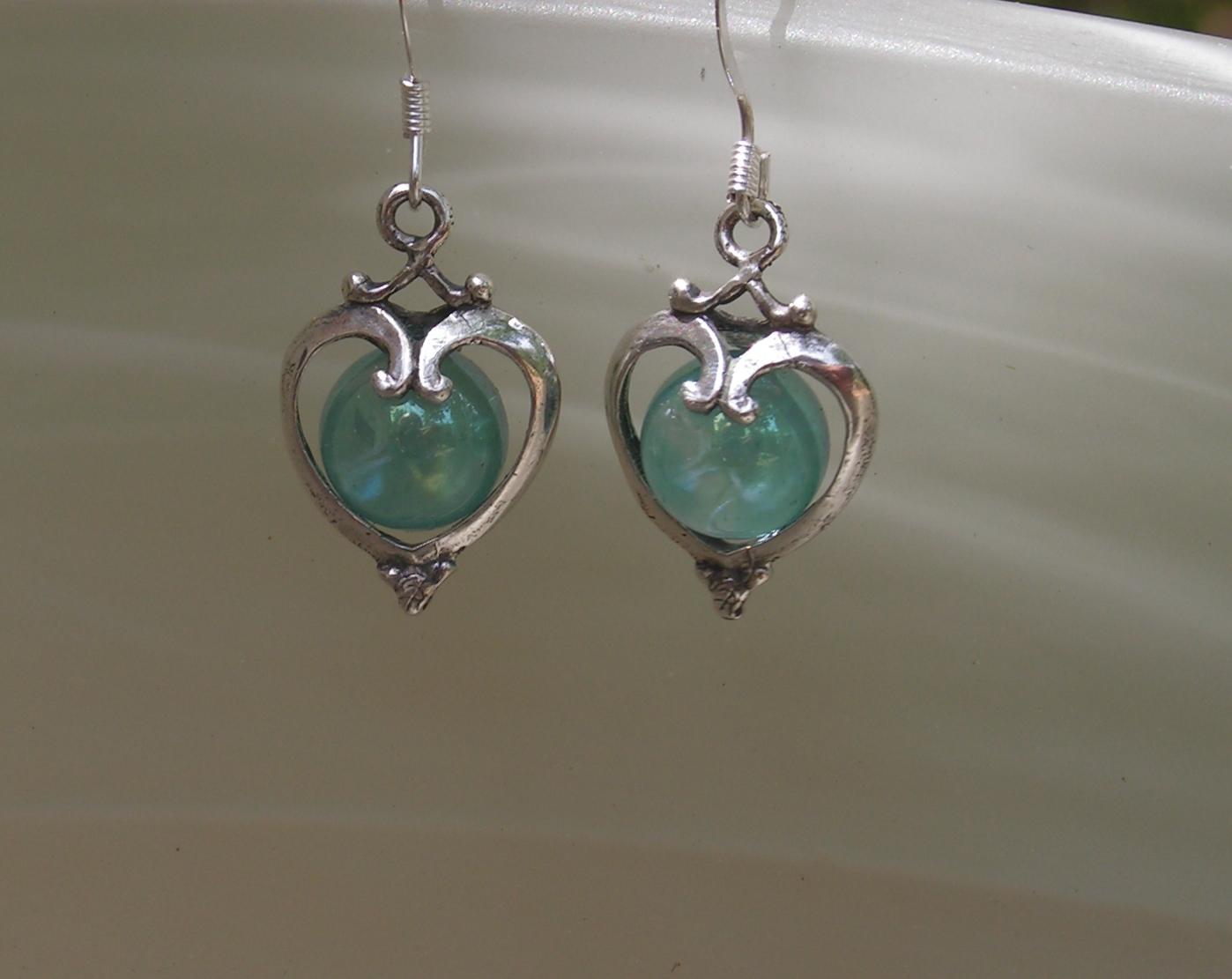 sterling silver earrings with aqua aura western